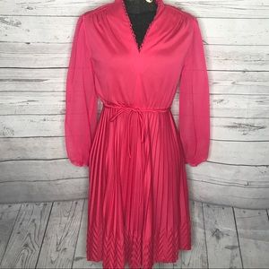 Vintage 80s Hot Pink Secretary Dress H139